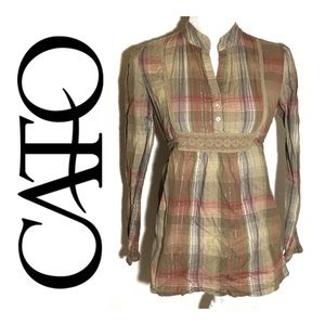 Cato Plaid Babydoll Tie Top